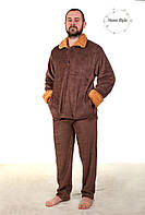Качественная махровая пижама из материала софт коричневого цвета, фото 1