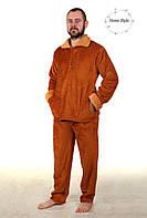 Махровая пижама из материала софт коричневого цвета