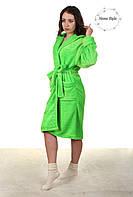 Красивый молодежный махровый халат салатового цвета, фото 1