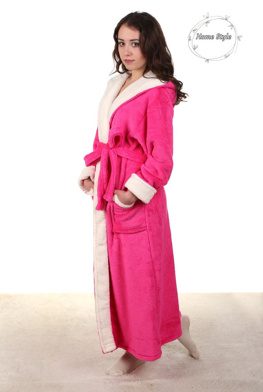 Красивый длинный махровый халат розового цвета 50-54