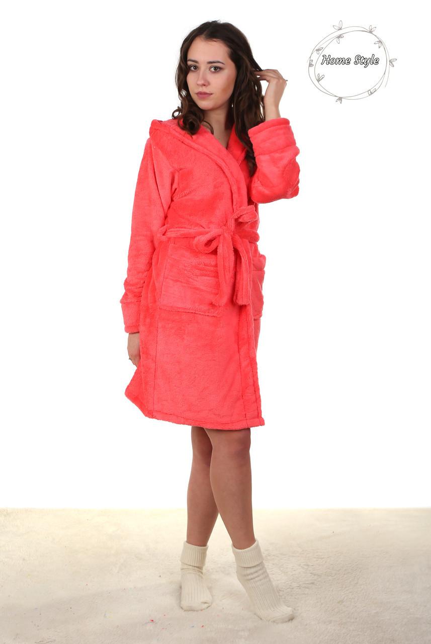 Красивый молодежный махровый халат персикового цвета.  Размер 42-46