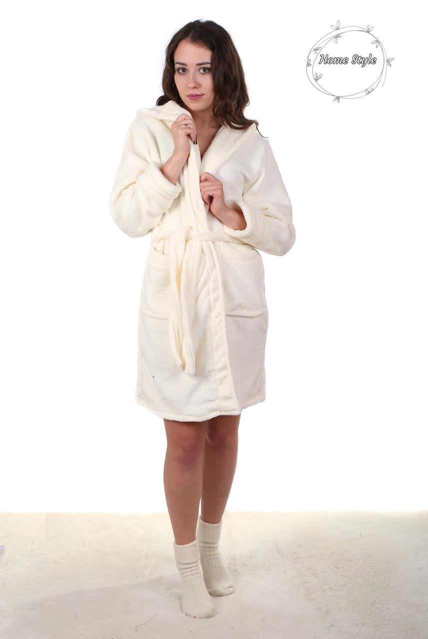 Красивый молодежный махровый халат кремового цвета. Размер 42-46
