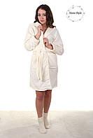 Красивый молодежный махровый халат кремового цвета. Размер 42-46, фото 1