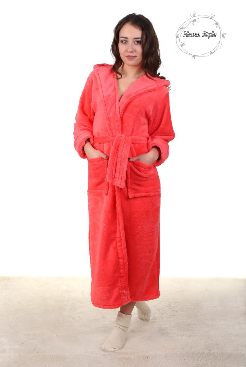 Красивый длинный махровый халат персикового цвета 50-54