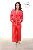 Красивый длинный махровый халат персикового цвета 50-54, фото 1