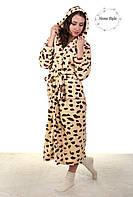 Красивый длинный махровый халат с леопардовым принтом 50-54, фото 1