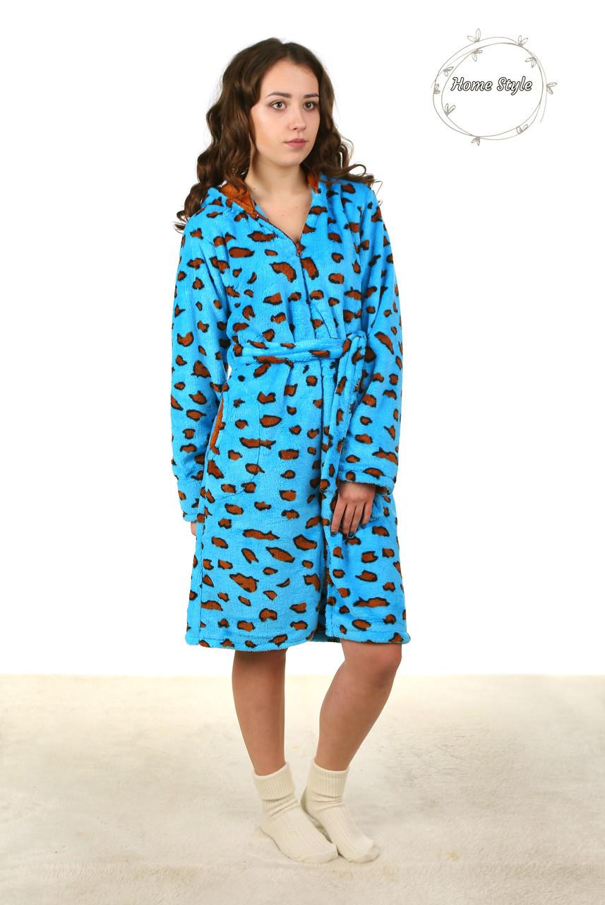 Молодежный махровый халат на молнии с леопардовым принтом. Размеры 44-50