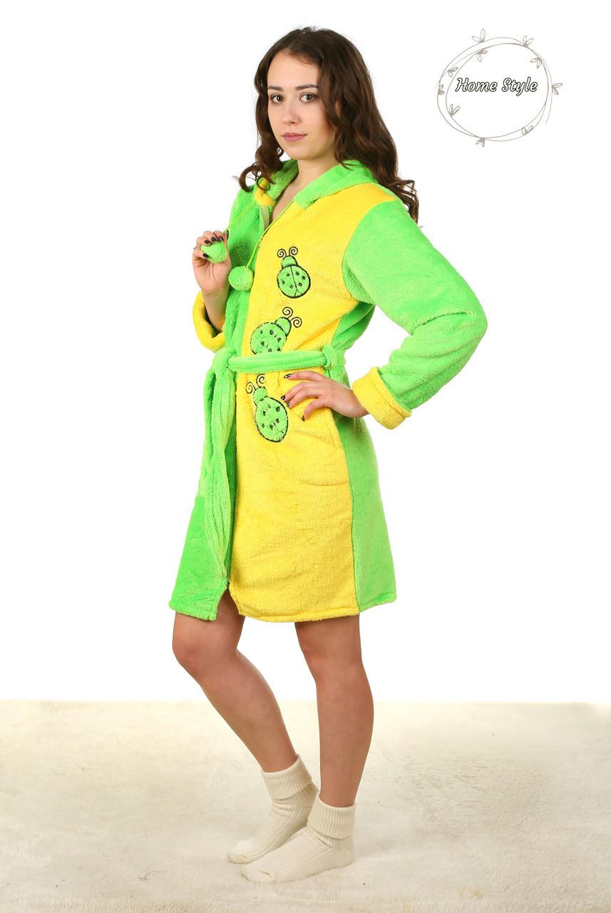 Модный молодежный махровый халат на молнии двухцветный. Размеры 44-50