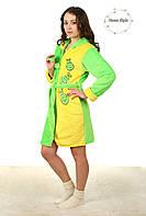 Модный молодежный махровый халат на молнии двухцветный. Размеры 44-50, фото 1