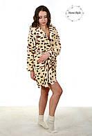 Модный махровый халат с леопардовым принтом на запах. Размер 38-42, фото 1