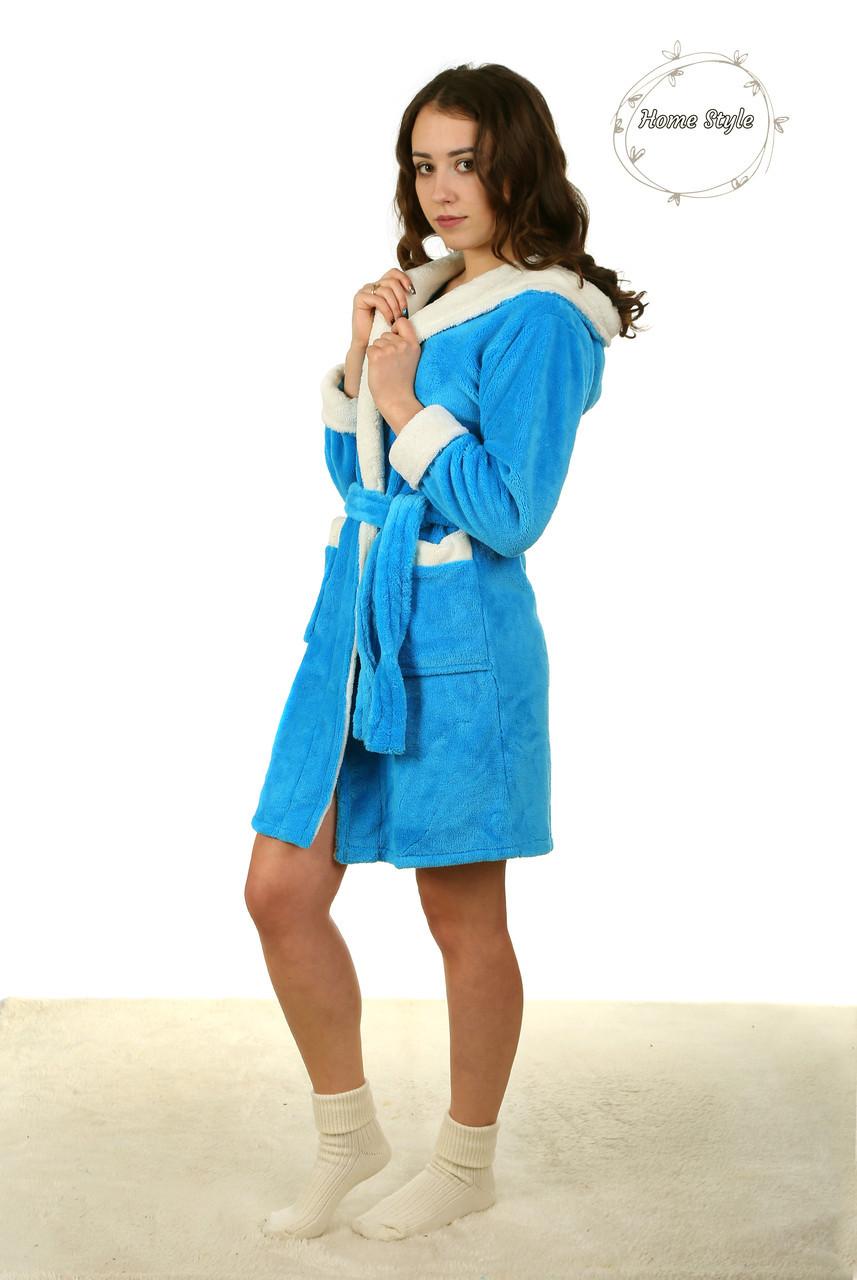 Голубой молодежный махровый халат с белой каймой. Размер 42-46