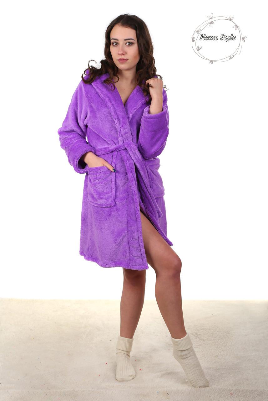 Красивый махровый молодежный халат нежно сиреневого цвета. Размер 38-42