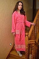 Красивый молодежный махровый халат персикового цвета.  Размер 42-46, фото 1
