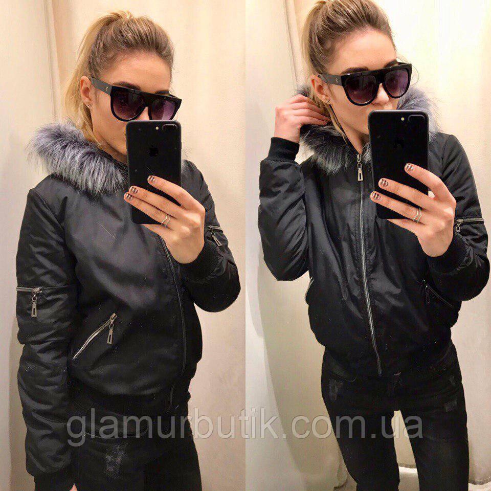 49236006b4ac Куртка бомбер с меховым воротником чёрный S,M,L  продажа, цена в ...