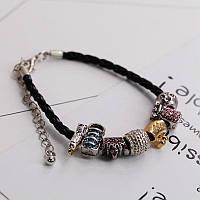 Стильный женский браслет на руку в стиле Pandora черного цвета