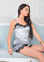 Бархатная пижама серого цвета с шортами для сна и дома