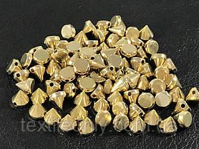 Шипи пластикові пришивні колір золото (small) 6х6 мм