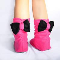 Тапочки Бантики розовые с черным бантом