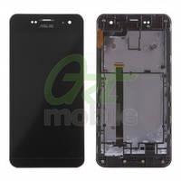 Дисплей для Asus ZenFone 5 (A500CG 2014/A500KL/A501CG) + touchscreen, черный, Charcoal Black, с передней панелью