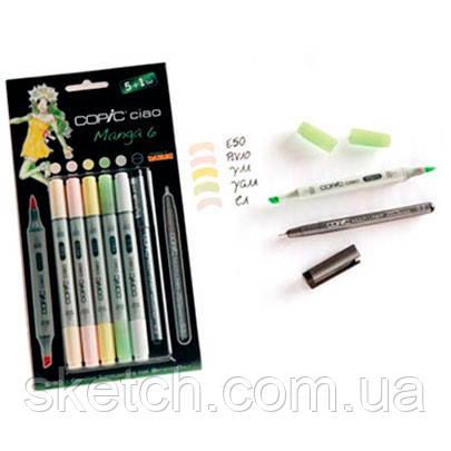 """Набор маркеров Copic Ciao Set """"5+1"""" Manga 6, цвета+лайнер"""