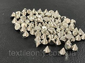 Шипи пластикові пришивні колір срібло (small) 6х6 мм