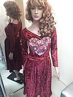 Плаття бордо велюр серце 8ef92bc263f19