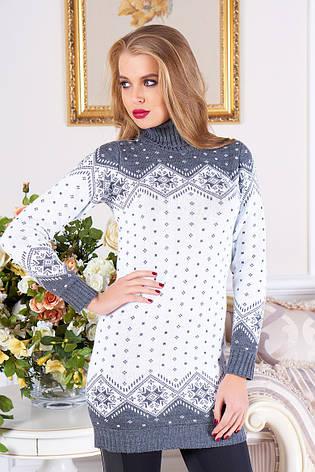 """Жіночий довгий светр-туніка з коміром під горло """"Лора"""" (маренго 02), фото 2"""