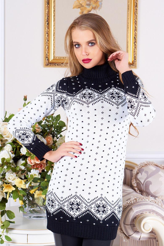 """Довгий жіночий в'язаний светр-туніка з коміром під горло """"Лора"""" (чорний 02)"""