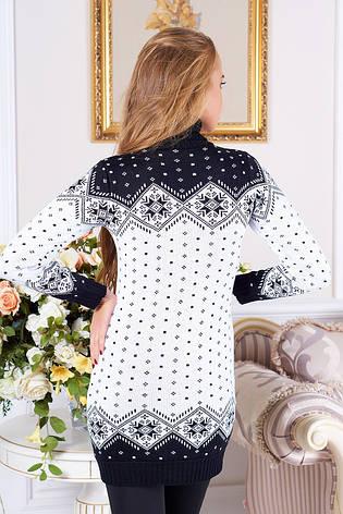 """Довгий жіночий в'язаний светр-туніка з коміром під горло """"Лора"""" (чорний 02), фото 2"""