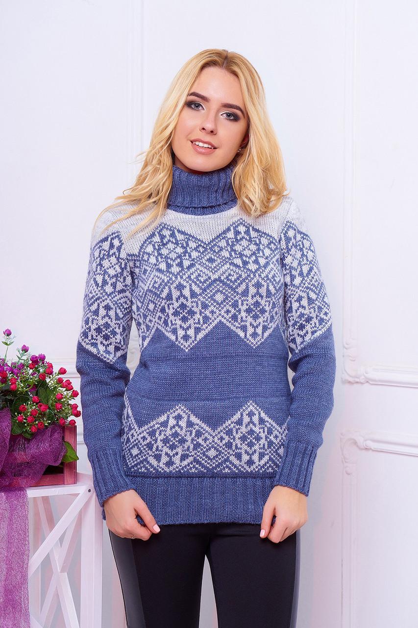 теплый женский вязаный свитер с узором воротник под горло дженни