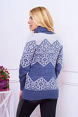 """Теплый женский вязаный свитер с узором воротник под горло """"Дженни"""" цвет джинс, фото 2"""
