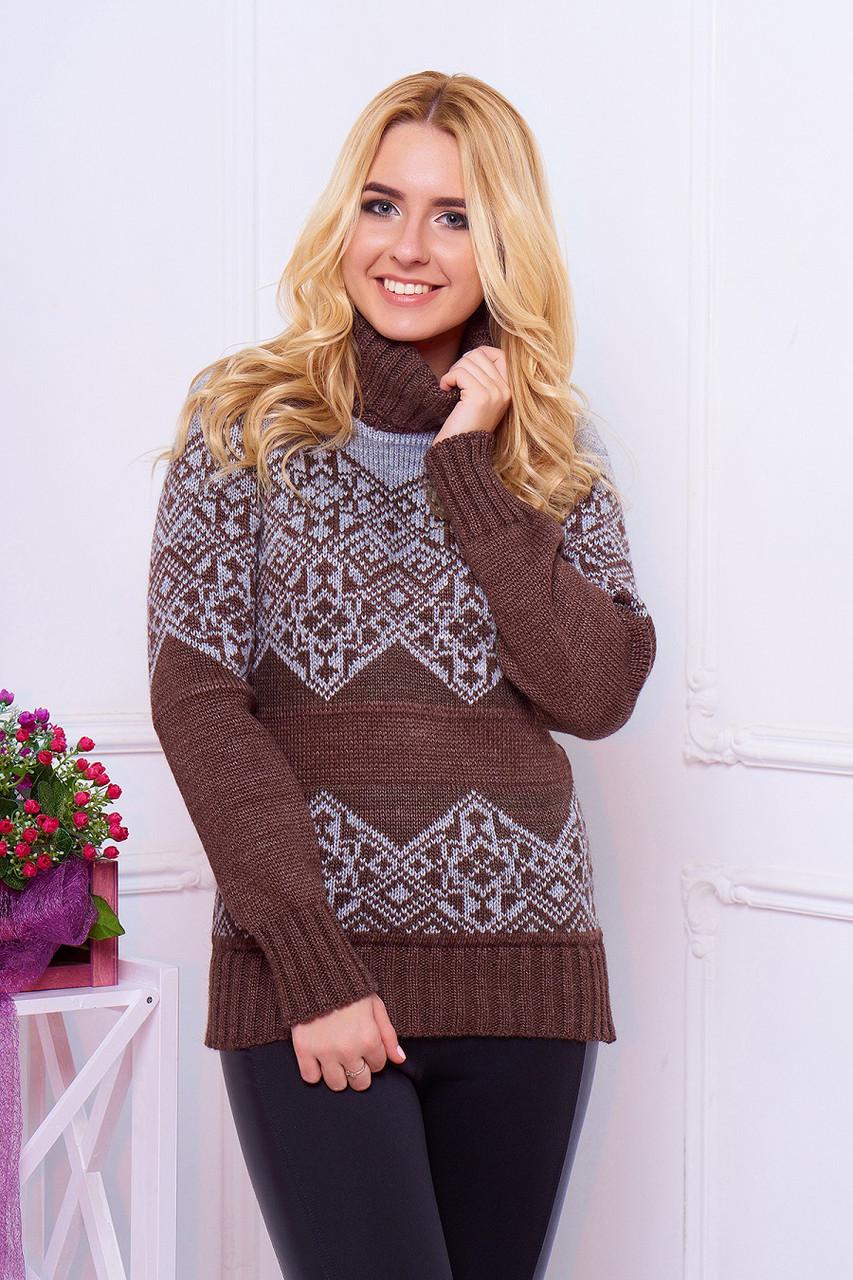 """Гарний теплий жіночий в'язаний светр з коміром під горло і візерунком """"Дженні"""" шоколадного кольору"""