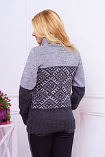 """Красивий жіночий теплий зимовий в'язаний светр з візерунком і коміром під горло """"Танго"""" сірий (антрацит), фото 2"""