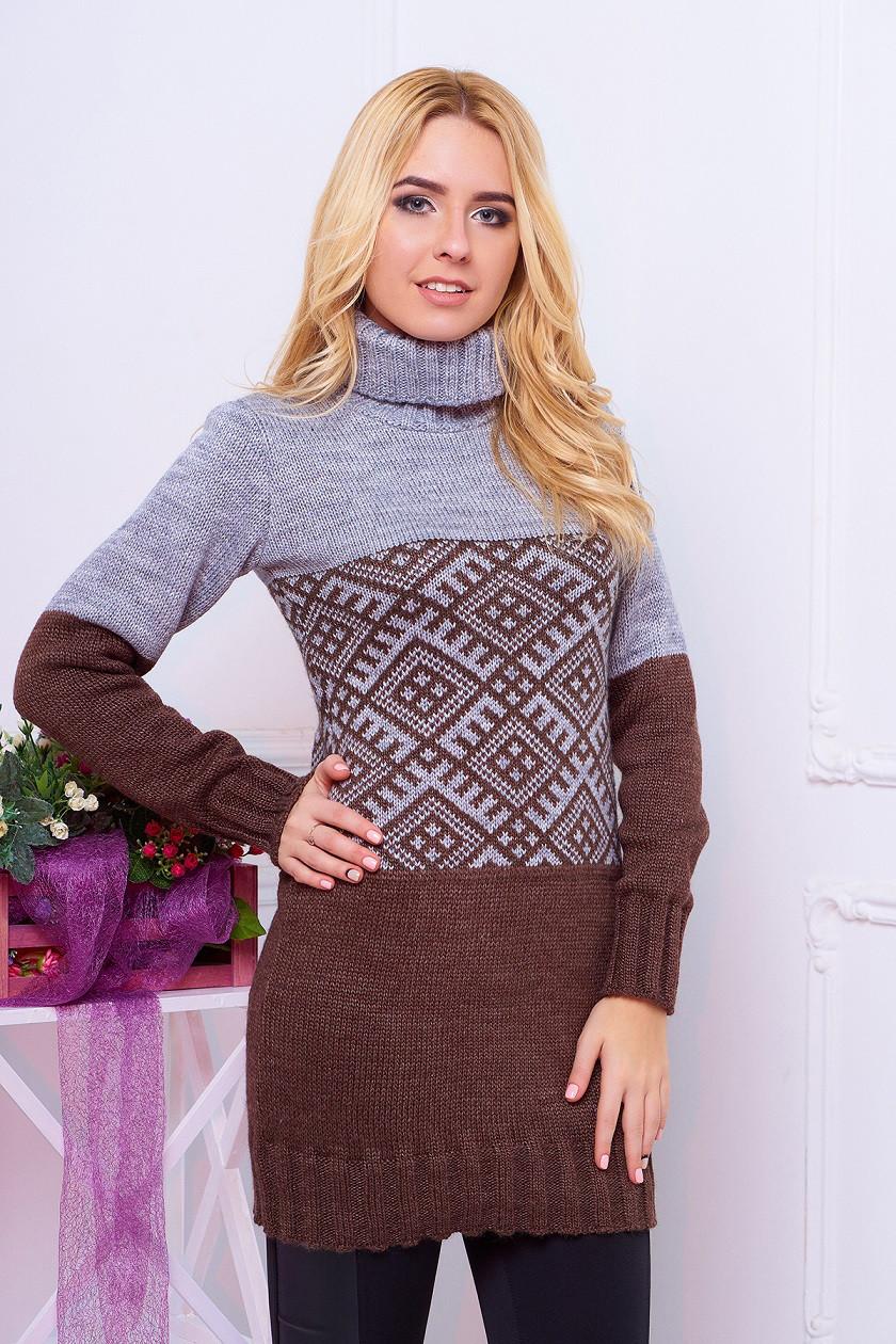 """Красивая теплая вязаная женская туника-свитер с воротником под горло """"Танго"""" шоколадного цвета"""