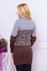 """Красивая теплая вязаная женская туника-свитер с воротником под горло """"Танго"""" шоколадного цвета, фото 2"""