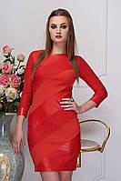 """Модное облегающее платье мини со вставками экокожи и сеткой """"Рио"""" (красный гипюр)"""