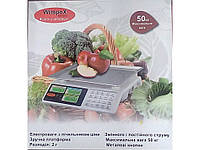 Весы электронные WIMPEX 5003 металлические кнопки, весы торговые WIMPEX 5002 50 кг со счетчиком цены
