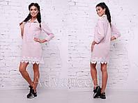 Женское модное красивое хлопковое платье-рубашка с кружевом (3 цвета)