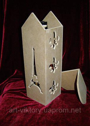 Короб для вина Ейфелева вежа (11 х 11 х 33 см), декор, фото 2