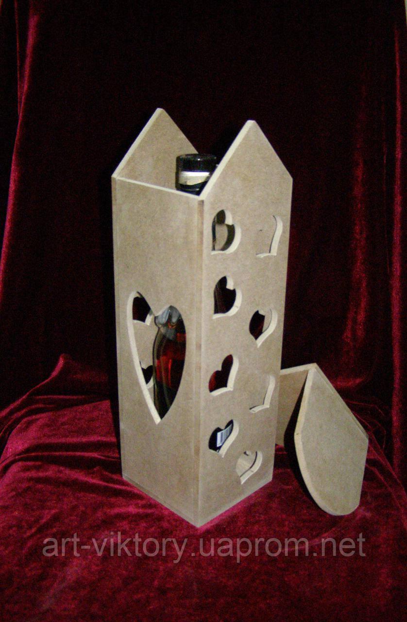Короб для вина сердечка (11 х 11 х 33 см), декор