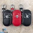 Ключница карманная (кожаная, черная, на молнии, с карабином, с кольцом), логотип авто Peugeot (Пежо), фото 2