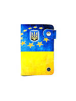 Кожаная кредитница на кнопке Флаг Украины