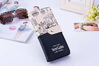 Женский кошелек на кнопке Secret Garden черный большой, фото 1
