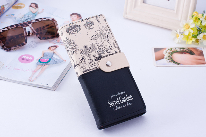 Женский кошелек на кнопке Secret Garden черный большой