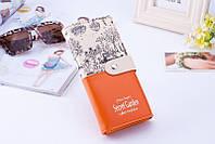 Оранжевый женский кошелек на кнопке Secret Garden, фото 1