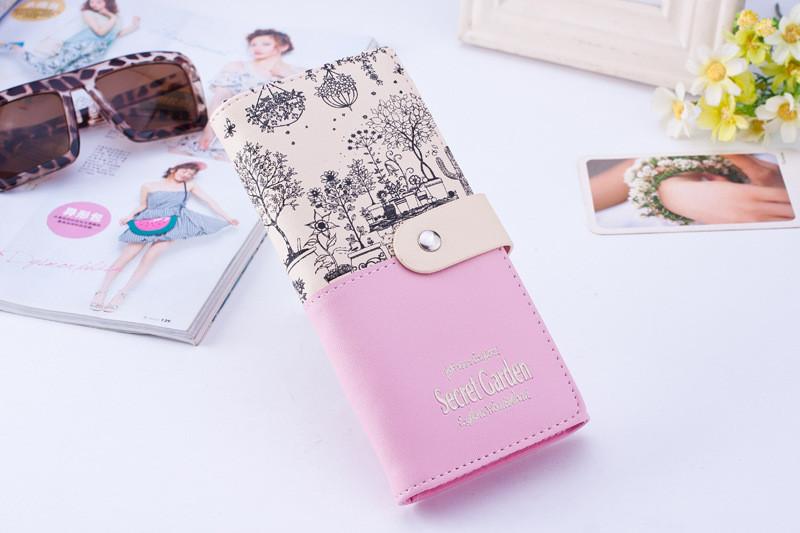 Розовый женский кошелек-портмоне на кнопке Secret Garden
