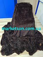 Плед покрывало травка длинный ворс 220х240 Koloco. Черный шоколад.
