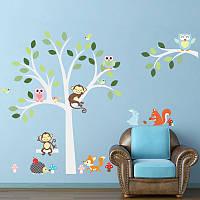 """Наклейка двойный эффект """"Совы, обезьянки, птички и белочки на белом дереве"""", 160х105 см."""
