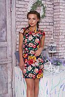 """Короткое летнее платье прямое с вырезом на горловине цветочный принт """"Вояж"""" к/р (цветы 6)"""
