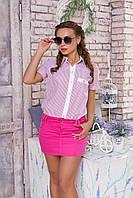 """Легкая женская блузка-рубашка в полоску короткий рукав с подворотами """"Кантри"""" (полоса малина)"""